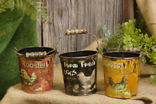SET/3 FARM FRESH Bucket Pail Rooster Chicken Hen Egg Country Primtive Farmhouse