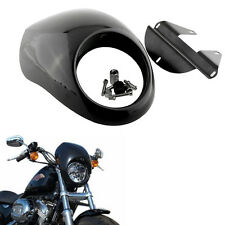 Black Headlight Front Visor Fairing Cool Mask For Harley Dyna FX Motorcycle