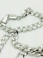 "14k Solid White Gold Cuban Curb Link Necklace Chain 24"" 5.7mm"