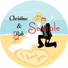 120 Personalized Bride and Groom Beach Wedding Round Stickers Envelope Seals