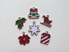12 Enamel CHRISTMAS CHARMS sleigh present snowflake poinsettia + more FREE SHIP
