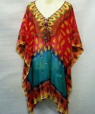 Sheer Embellished Kaftan Tunic Georgette Polyester Digital Printed Size 12-14-16