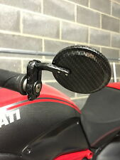 Ducati Diavel Bar End Mirrors Carbon Round Red Blue Stripe Black AMG Stealth