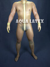 Man Transparent Rubber Latex Zentai with Crotch Three-dimensional Cutting