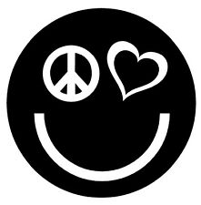 PEACE LOVE HAPPINESS Vinyl Decal Sticker Car Window Wall Laptop Smiley Face Logo