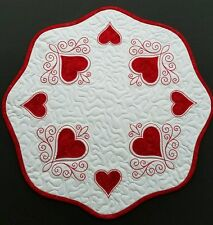 Handcrafted Embroidered Quilted Table ~Runner~ Topper ~ VALENTINE~ RED HEARTS