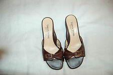 Taryn Rose Brown Snake Print Leather Mules Heels Shoes Size 34 Made in Italy