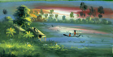 Original Oil Painting from Cambodia – River Scene with Bungalow and Boat    5112