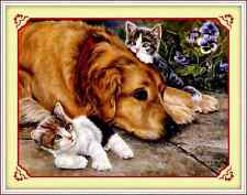 Kit broderie point de croix imprimé ,Cross Stitch Kit Dog and cats 76*58cm