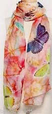 100% Pure Silk Scarf-Shawl/LONG/Chiffon/Gentle-ButterflyDreaming-NEW*SARONG S*BR