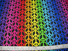 PEACE SIGNS MULTI COLOR ON BLACK FABRIC 100% COTTON CRAFT FABRIC BY THE 1/2 YD