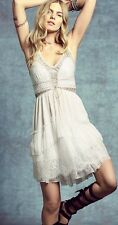 Free People Lace Up Babydoll  Open Back Tiered Mini Dress in Ivory Sz 6
