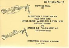 Machine Gun, 7.62 MM, M60, M60D, Mount, Tripod M122, Operator's