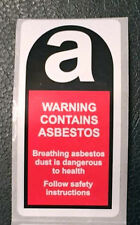 Roll of 500 Asbestos warning labels / Stickers 25mm x 50mm FREE P&P