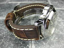 New BIG CROCO 24mm PANERAI Antique Brown LEATHER STRAP White watch Band 24