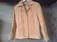 Giacca 100% Genuine Leather Womens BUTTON UP TAN Jacket SIZE LARGE LACE WORK
