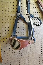 Custom Handmade FLASHY bronc halter real zebra hide