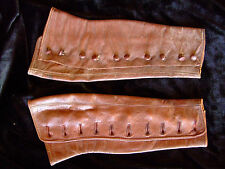 Lovely French vintage soft brown leather gaiters 10 button steam punk Edwardian