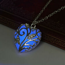 Magic Blue Heart Shaped Locket Glow In The Dark Pendant Necklace Hollow Fashion