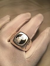 Vintage Silver Stainless Steel Size 13 Men's Wolf And Moon Ring