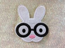 Cute Rabbit with Glasses Patch. Iron or Sew UK Seller