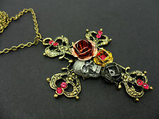 A LOVELY LONG GOTH STYLE FLOWER SKULL  NECKLACE. NEW.