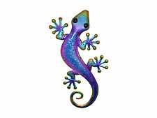 1pce 61cm Glass / Metal Purple & Blue Airbrushed Gecko / Lizard Wall Art Hanging