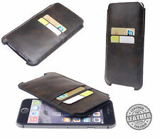 Genuine Real Leather Luxury Vintage Brown Pouch Case For Apple Iphone 6 6S 4.7""