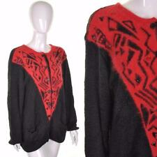 VINTAGE 80's Cosy Black Red Angora Cardigan 12 14 16 Oversized Coatigan Retro