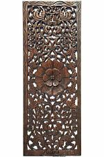 "Rustic Carved Wood Wall Decor Panel.Floral Wood Wall Art. Dark Brown 35.5""x13.5"""