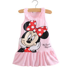 0-7Y Kids Girls Mickey Minnie Mouse Clothes Summer Tutu Skirt Party Mini Dress
