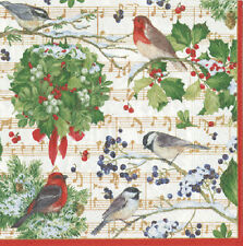 Winter Song Birds Music Christmas Caspari paper table lunch napkins 20 in pack