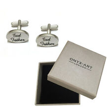 Mens Brushed Silver Oval Godfather Cufflinks & Gift Box God Father By Onyx Art