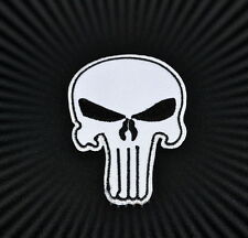Skull,The Punisher,Patch,Aufnäher,Aufbügler,Badge,Iron On,Badge,Weiß