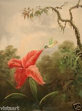 "Quality Oil Painting on Stretched Canvas 12x16"" Delightful Hummingbird and Lily"