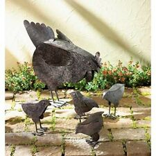 5 pc chicken & Chicks rustic primitive metal Sculpture rooster outdoor Yard Art