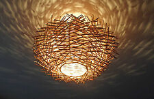 "Unusual Hand Made "" Birds Nest "" ceiling lamp shade -Twisted Rattan Lamp shade"