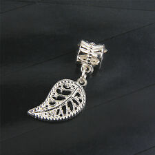 10Pcs Silver Plated leaves Charms Big Hole Beads For Bracelet Making Bead138