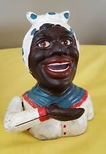 CAST IRON MECHANICAL COIN BANK Black Americana MAMMY Aunt JEMIMA JE STEVENS
