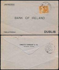 ARGENTINA to IRELAND 1906 ENVELOPE ERNESTO TORNQUIST + CO...H + K PACKET TPO