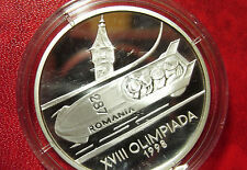 1998 Romania Large Silver Proof  100 Lei  Olympic Bobsled
