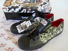 DRAVEN SKATEBOARD SHOES HIRO TATAKAI LOW TOP BLACK DRAGON TATTOO SIZE MENS 10