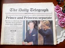 Princess Diana Separation Daily Telegraph Dec 10 1992 photos historic X-Rare