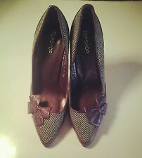 Ladies high heel shoes purple tweed bow Topshop court shoes size 6