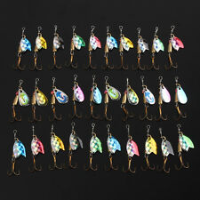 30 X Metal Mixed Spinner Fishing Lure Pike Salmon Baits Bass Trout Fish Hook Set