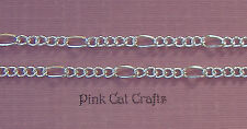2 Metres x Figaro Chain Silver Plated Links 7x3.5mm & 4x3.2mm