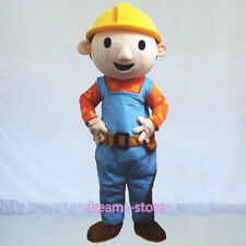 【SALE】 New Bob The Builder Mascot Costume Adult Size Halloween Fancy Dress