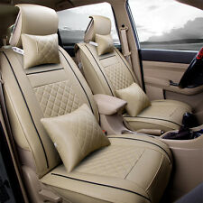 Car Seat Cover 5-Seats Front & Rear PU Leather Size L W/Neck Pillow Lumbar Beige