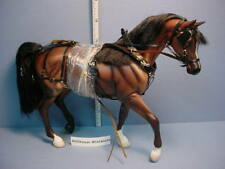 Dollhouse Miniature Brown Breyer Horse with Handcrafted Buggy Harness