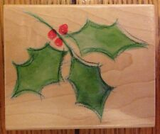 Hero Arts Watercolor Holly Solid Christmas Rubber Stamp H3706